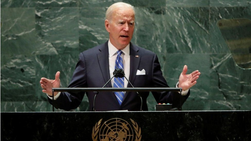 The US President Joe Biden delivers remarks to the 76th session of the UN General Assembly