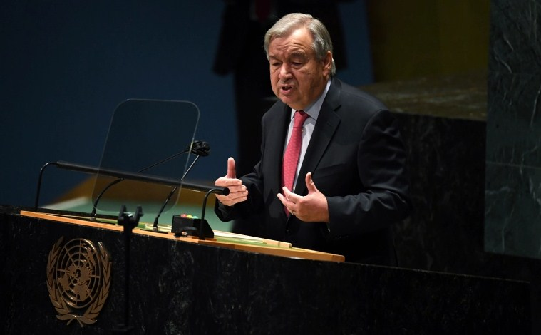 United Nations Secretary-General Antonio Guterres addresses the 76th session of the UN General Assembly
