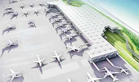 A model of the third terminal at Hazrat Shahjalal International Airport (HSIA), Dhaka.