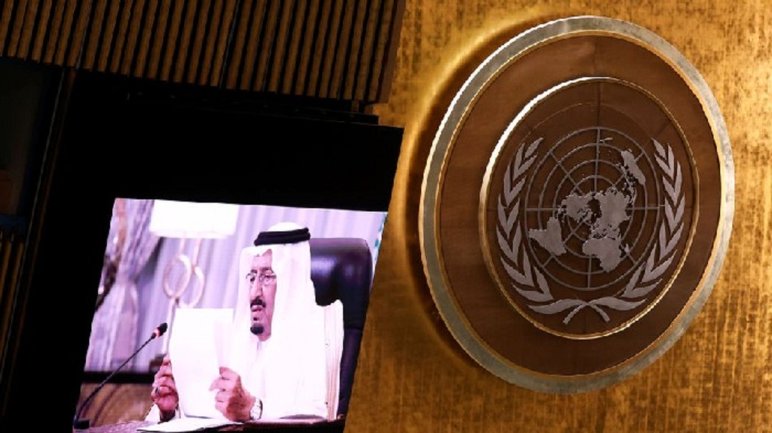 Saudi King Salman bin Abdulaziz addresses, via a prerecorded statement, the General Debate of the 76th Session of the United Nations General Assembly in New York City, U.S., September 22, 2021. PHOTO: REUTERS