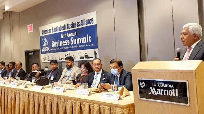 Federation of Bangladesh Chambers of Commerce and Industry (FBCCI) President Md Jashim Uddin speaks at the Annual Business Summit organized by the American Bangladeshi Business Alliance in New York