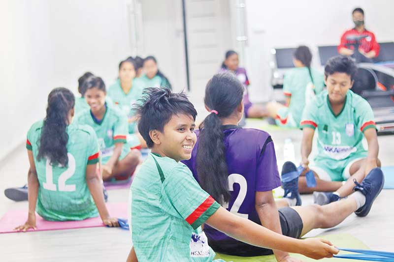 Bangladesh woman national footballers having practice on Saturday in Uzbekistan ahead of a friendly match against Hong Kong to be played on Sunday.photo: BFF