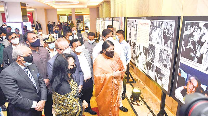 Dr. Shirin Sharmin Chaudhury, Speaker of Parliament visits a photography exhibition organised by Canadian university of Bangladesh on the occasion of  75th birth anniversary of Prime Minister Sheikh Hasina held in the city's Banani area on Sunday. photo: observer