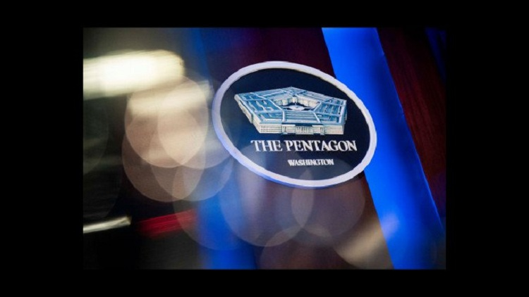 The Pentagon logo is seen behind the podium in the briefing room at the Pentagon in Arlington, Virginia, US, January 8, 2020. Photo: Reuters