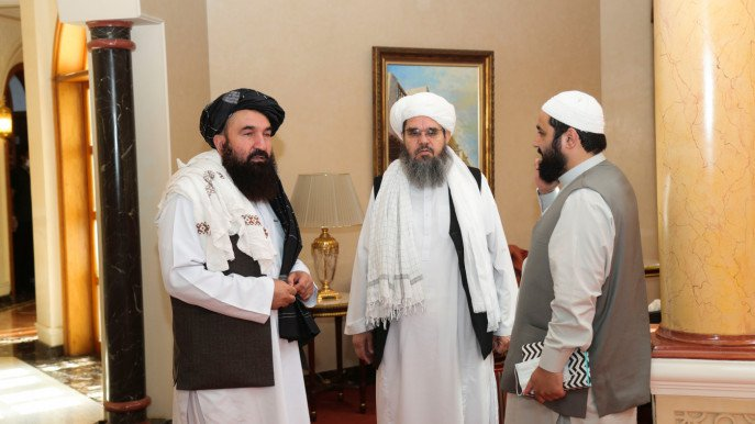 Taliban delegates, Shahabuddin Delawar and Khairullah Khairkhwa are pictured ahead of the meeting with US and European delegates in Doha, Qatar October 12, 2021. Photo :Reuters